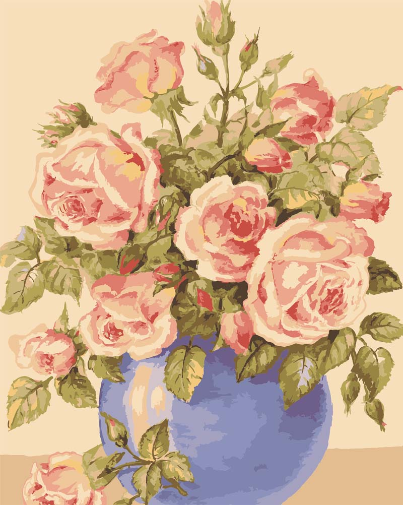 Roses in a Blue Vase -  Tapestry Canvas