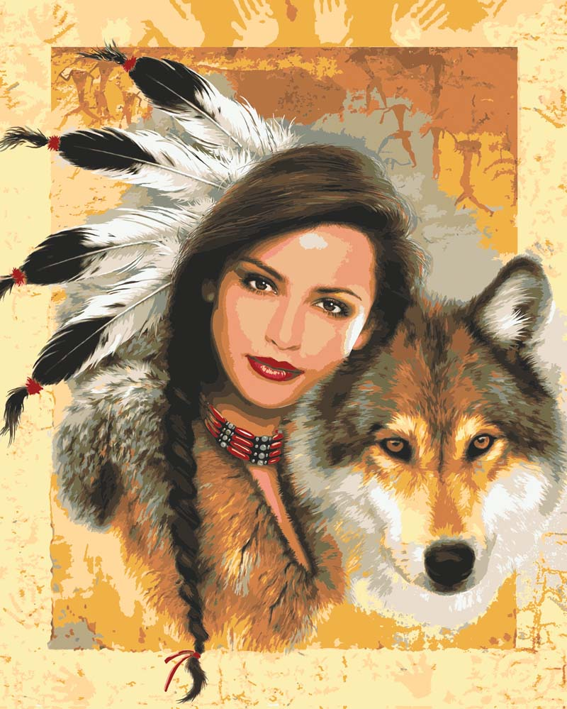 Indian Maiden with Wolf -  Tapestry Canvas
