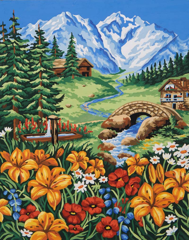 Spring in the Mountains -  Tapestry Canvas