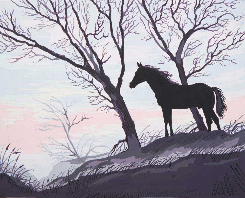 Stallion Silhouette -  Tapestry Canvas