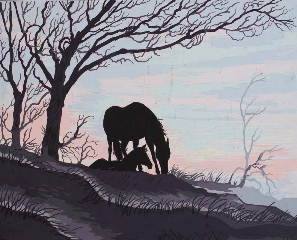 Grafitec Mare and Foal Silhouette Tapestry Canvas