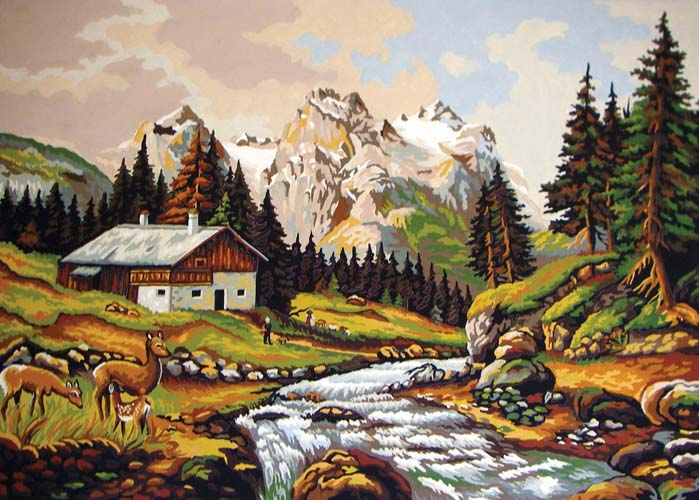 Grafitec Mountain Chalet Tapestry Canvas