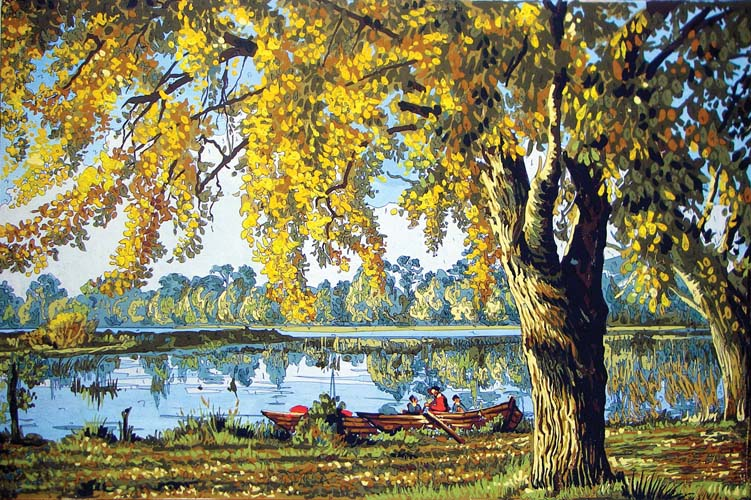 Autumn by the Lake -  Tapestry Canvas