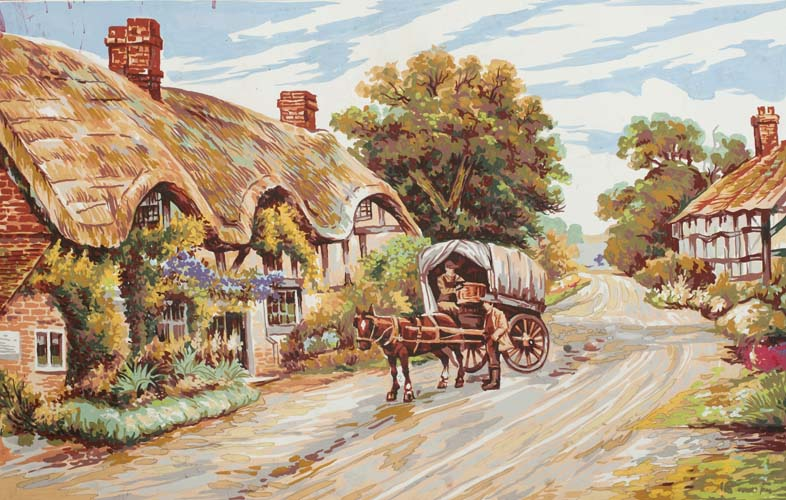 Grafitec Thatched Cottage Lane Tapestry Canvas