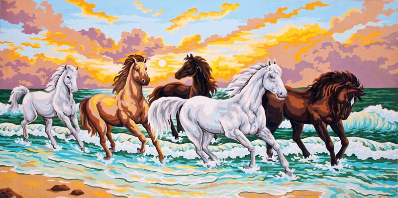 Galloping Through the Waves -  Tapestry Canvas