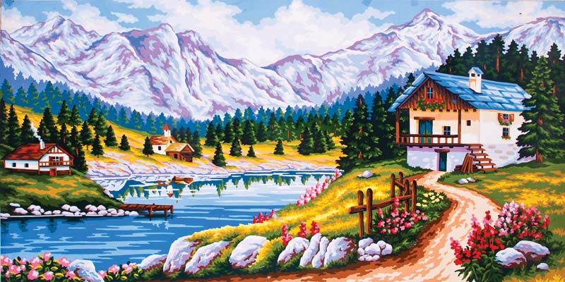 Grafitec Mountain Chalet in Spring Tapestry Canvas