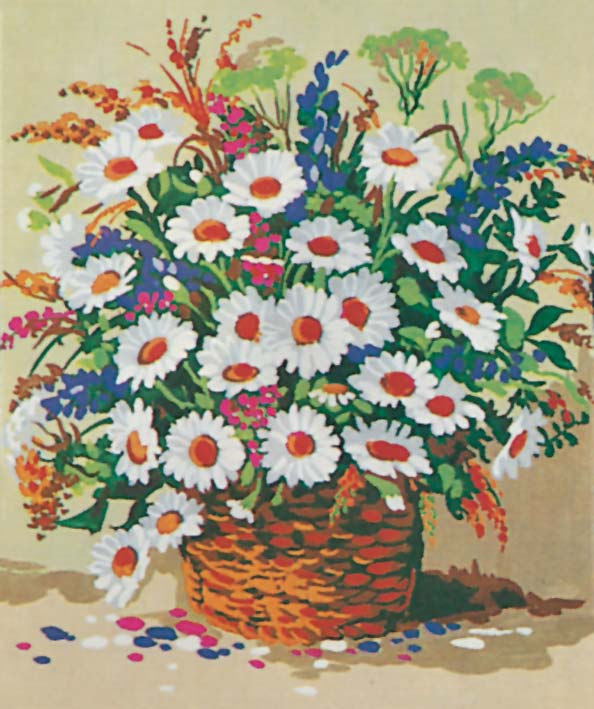 Basket of Daisies -  Tapestry Canvas