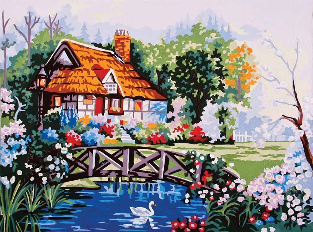 Pond in the Garden -  Tapestry Canvas