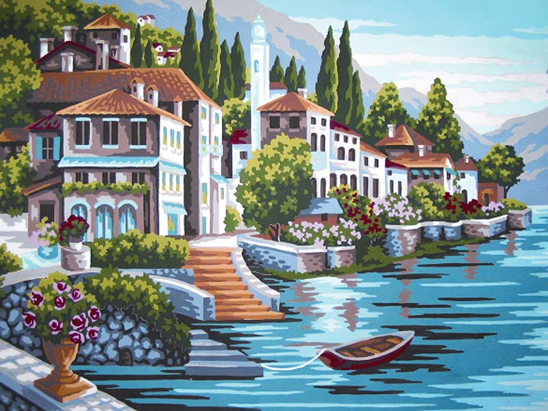 Steps to the Lake -  Tapestry Canvas