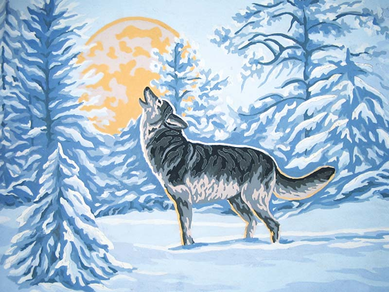 Moonlight Wolf -  Tapestry Canvas