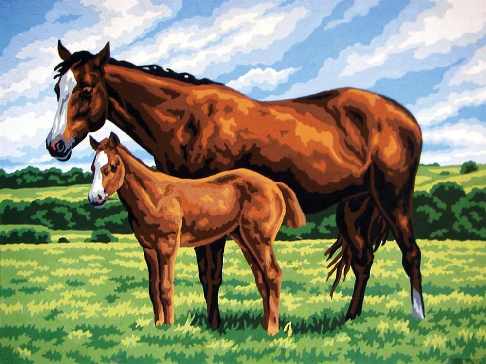 Mare and Foal -  Tapestry Canvas
