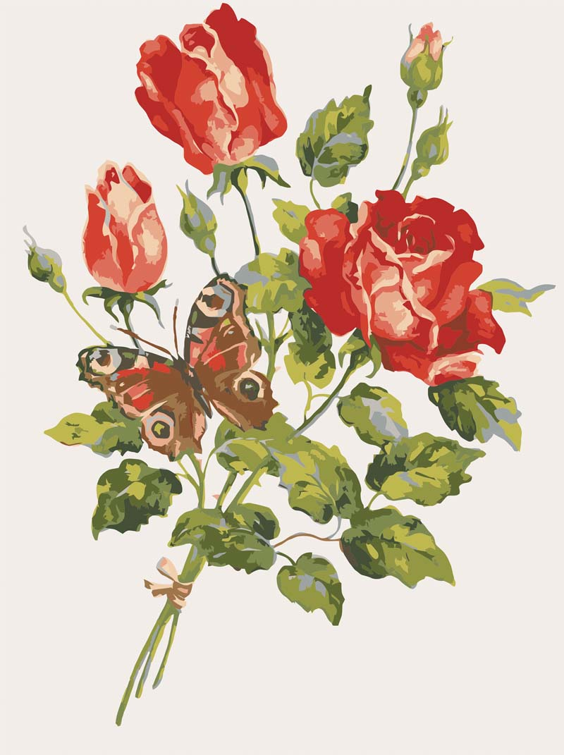 Red Roses & Butterfly -  Tapestry Canvas