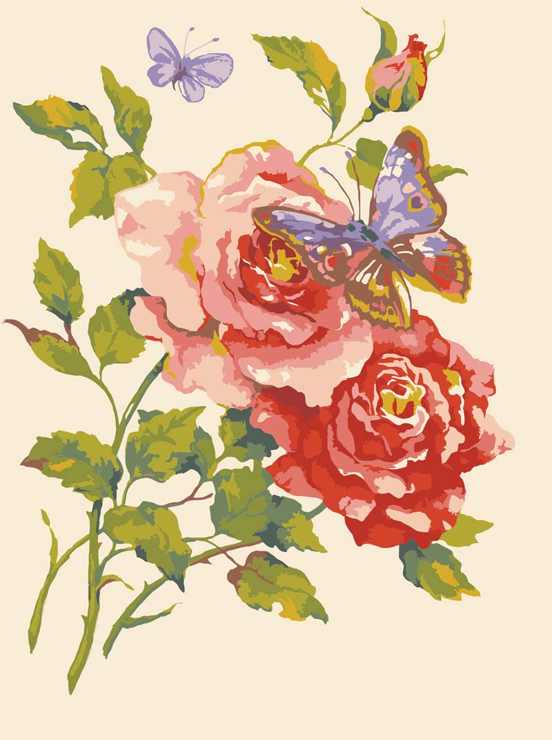 Pink Roses & Butterfly -  Tapestry Canvas