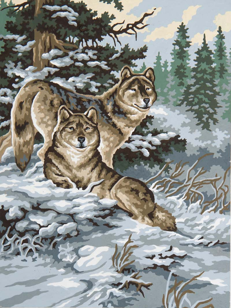 Snow Wolves -  Tapestry Canvas