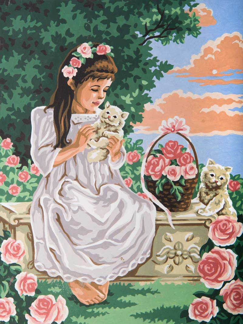 Grafitec Girl and Kittens Tapestry Canvas