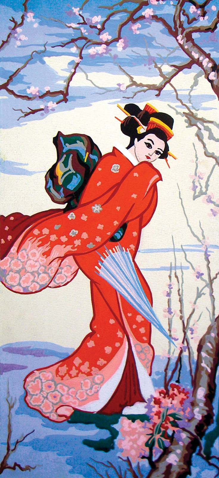 Grafitec Cherry Blossom Geisha Tapestry Canvas