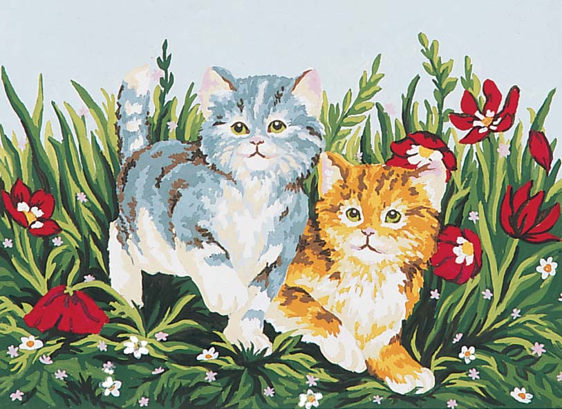 Playful Kittens -  Tapestry Canvas