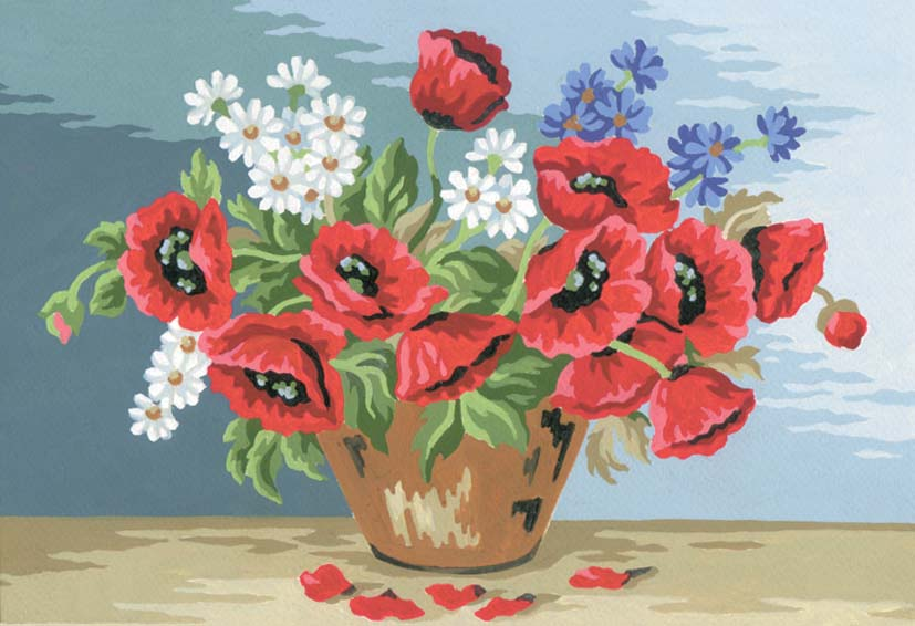 Poppy Bouquet -  Tapestry Canvas
