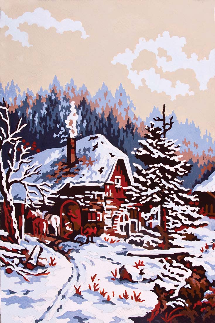 Winter Cabin -  Tapestry Canvas