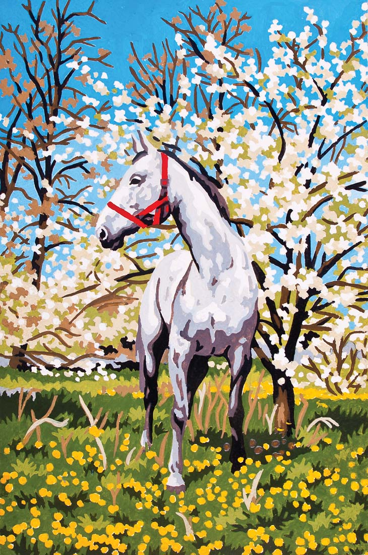 Horse in Orchard -  Tapestry Canvas