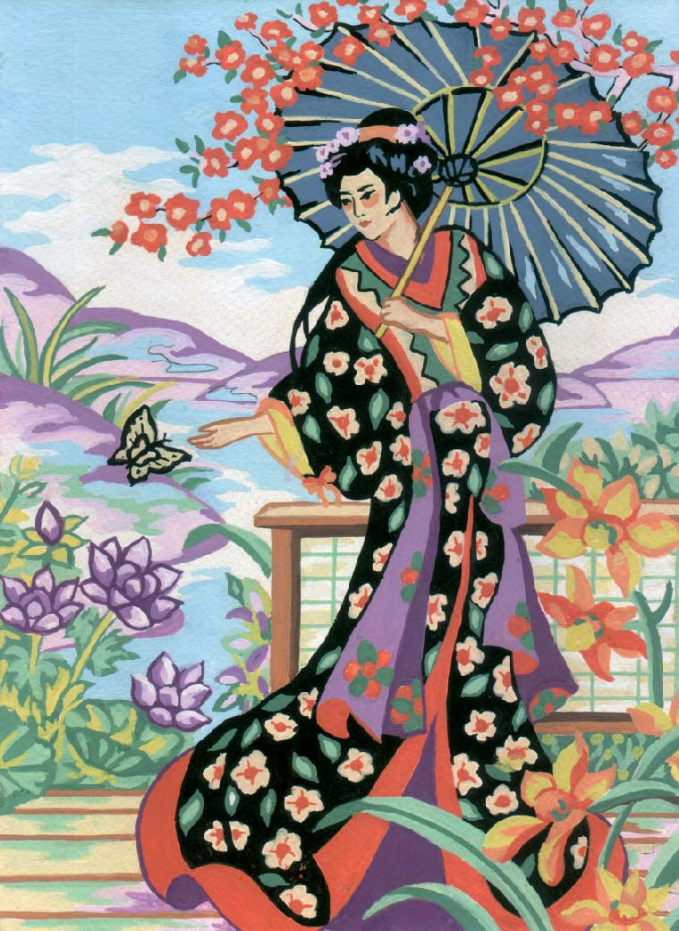 Geisha with Parasol -  Tapestry Canvas