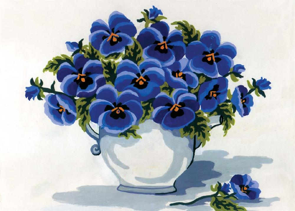 Grafitec Blue Pansies Tapestry Canvas