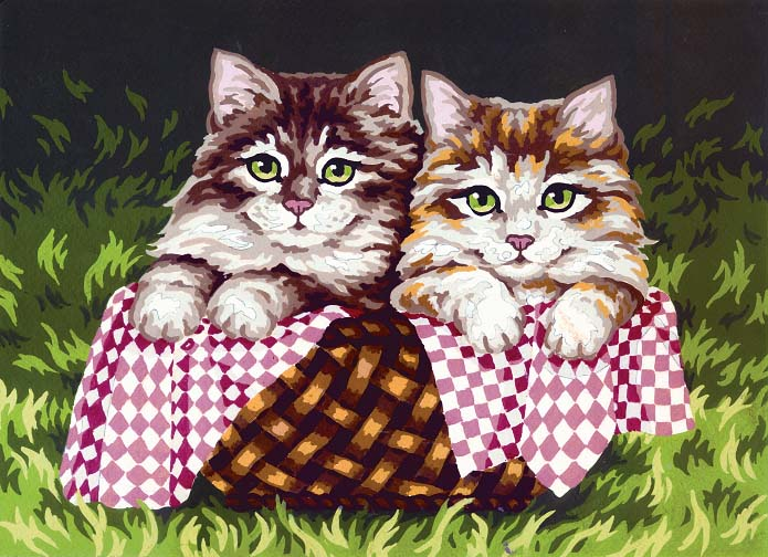 Kittens in a Basket -  Tapestry Canvas