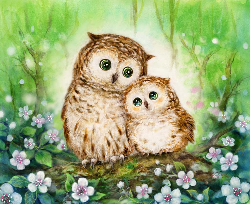Mother and Baby Owl -  Tapestry Canvas