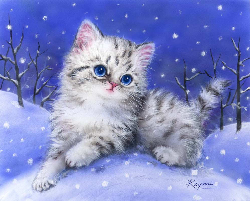 Grafitec Kitten in the Snow Tapestry Canvas