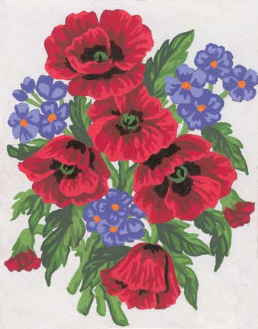 Poppies and Violets -  Tapestry Canvas