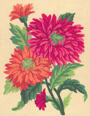 Chrysanthemums -  Tapestry Canvas