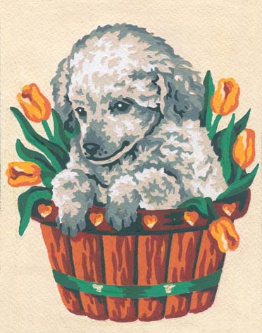 Puppy and Tulips -  Tapestry Canvas