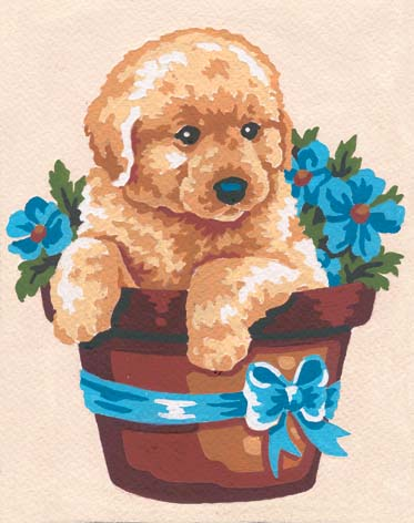 Grafitec Puppy and Flowers Tapestry Canvas