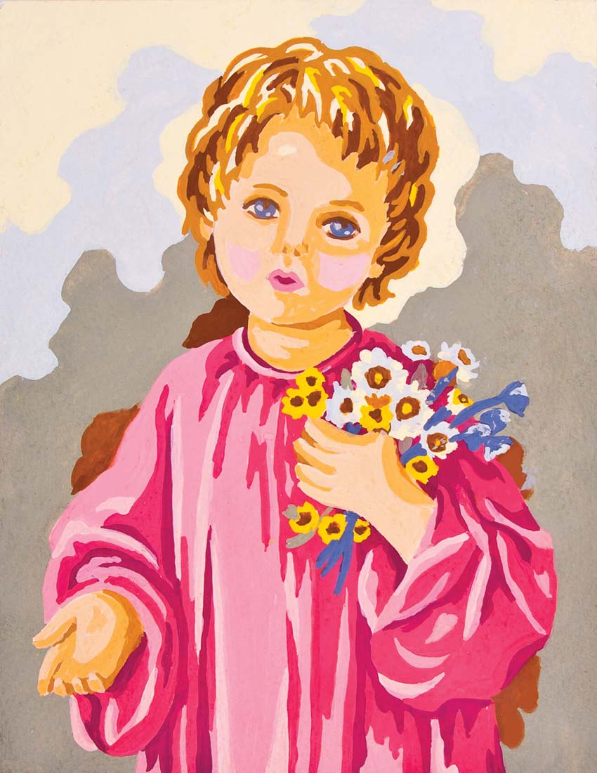 Grafitec Child with Flowers Tapestry Canvas
