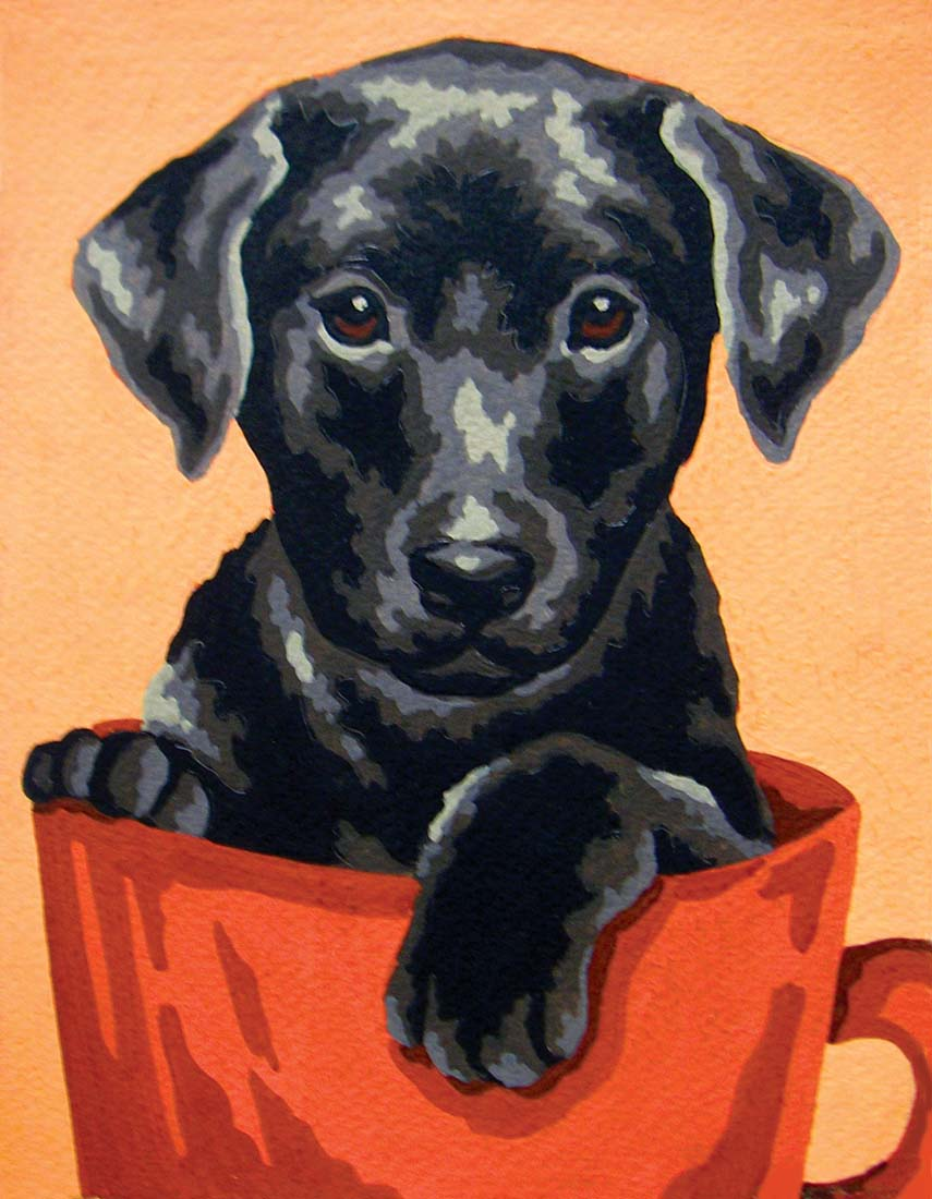 Puppy in a Cup -  Tapestry Canvas