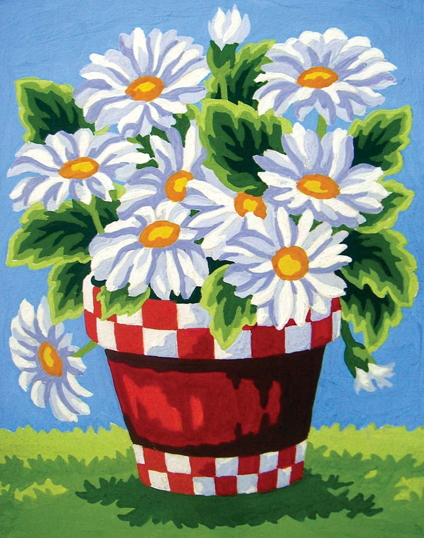White Daisies -  Tapestry Canvas