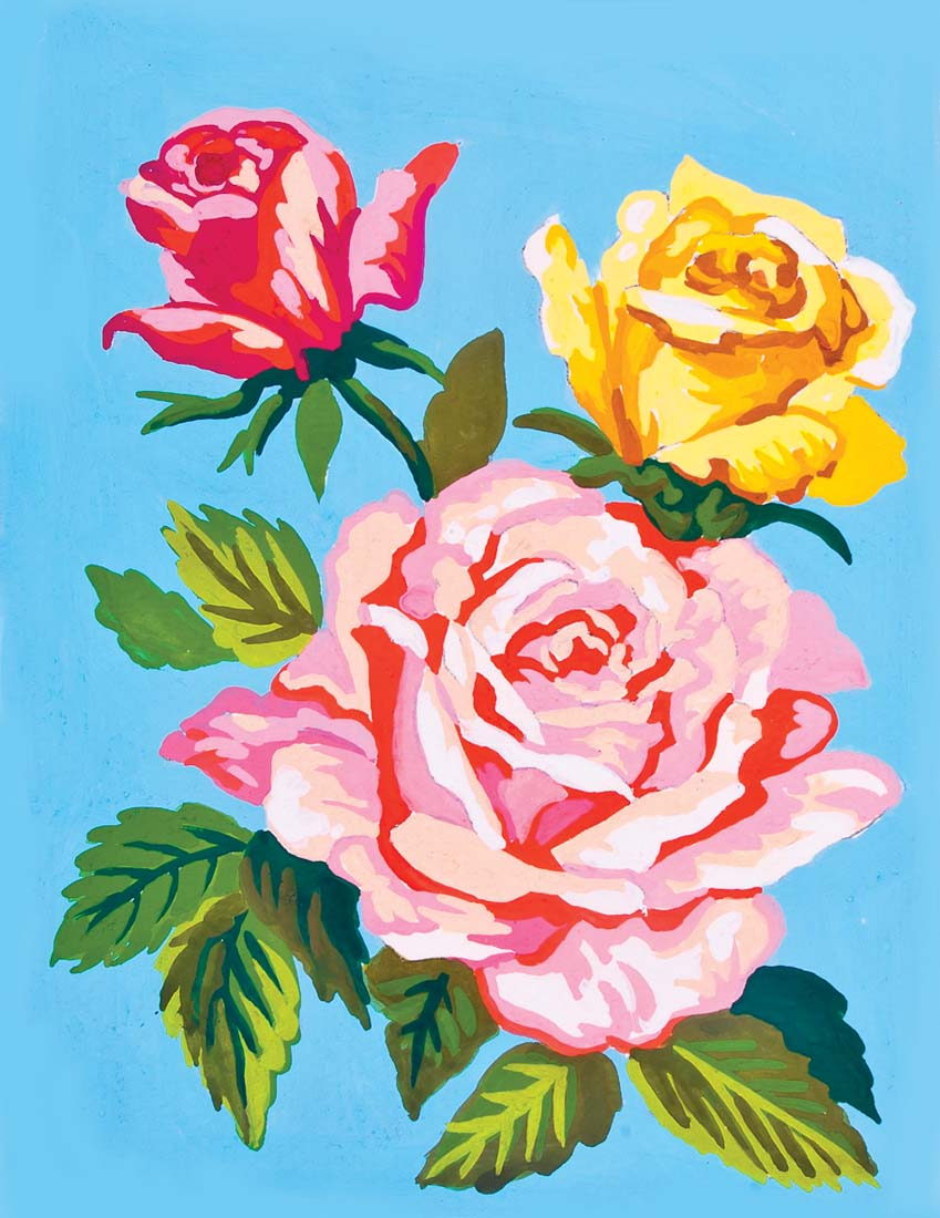 Roses on Blue -  Tapestry Canvas