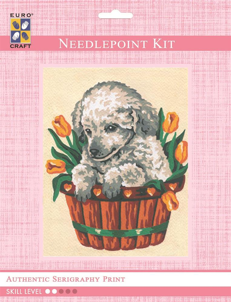 Puppy in Tulips -  Tapestry Kit