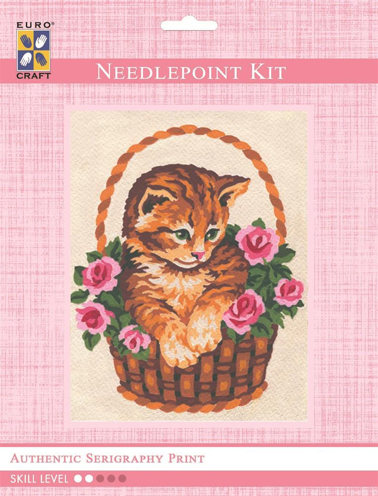 Grafitec Kitten in Rose Basket Tapestry