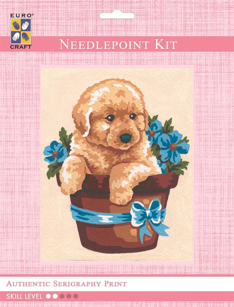 Puppy in Flower Pot -  Tapestry Kit