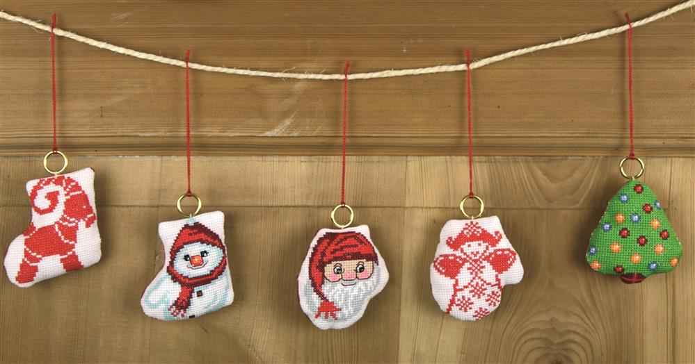 Permin Stocking and Mitten Ornaments Cross Stitch Kit