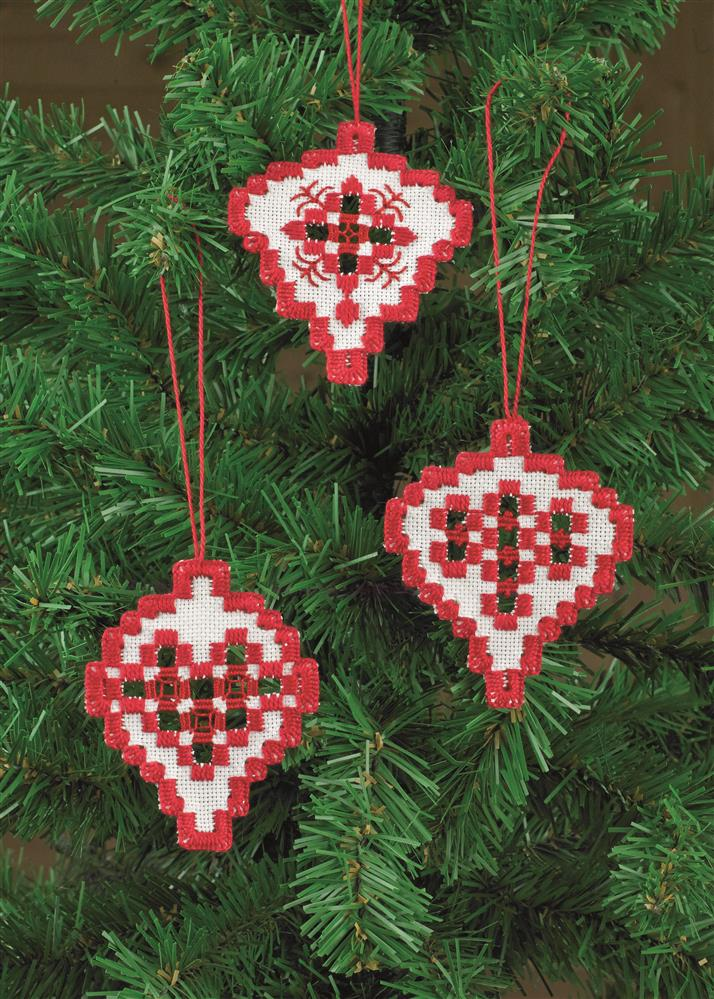 Permin Hardanger Ornaments 3 Embroidery Kit