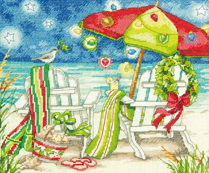Dimensions Christmas Beach Chairs Cross Stitch Kit