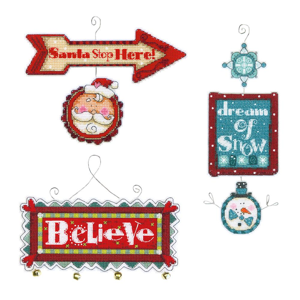 Dimensions Whimsical Signs Ornaments Cross Stitch Kit
