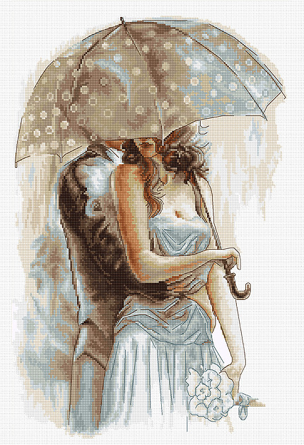 Couple Under Umbrella II -  Cross Stitch Kit