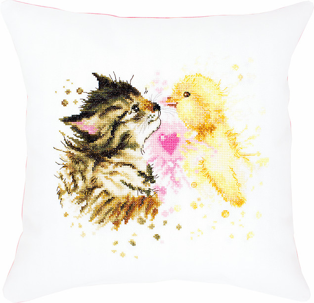 Kitten and Duckling Pillow -  Cross Stitch Kit