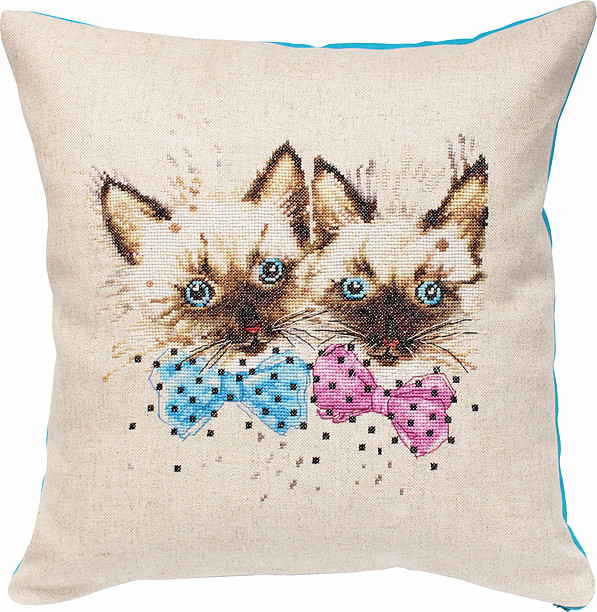 Luca-S Cats Pillow Cross Stitch Kit