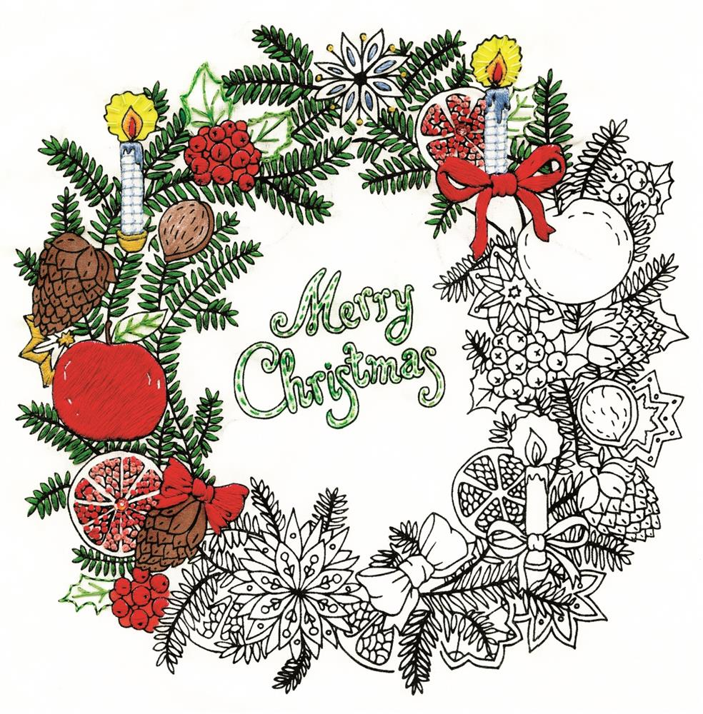 Design Works Crafts Zenbroidery Printed Fabric - Christmas Wreath Embroidery