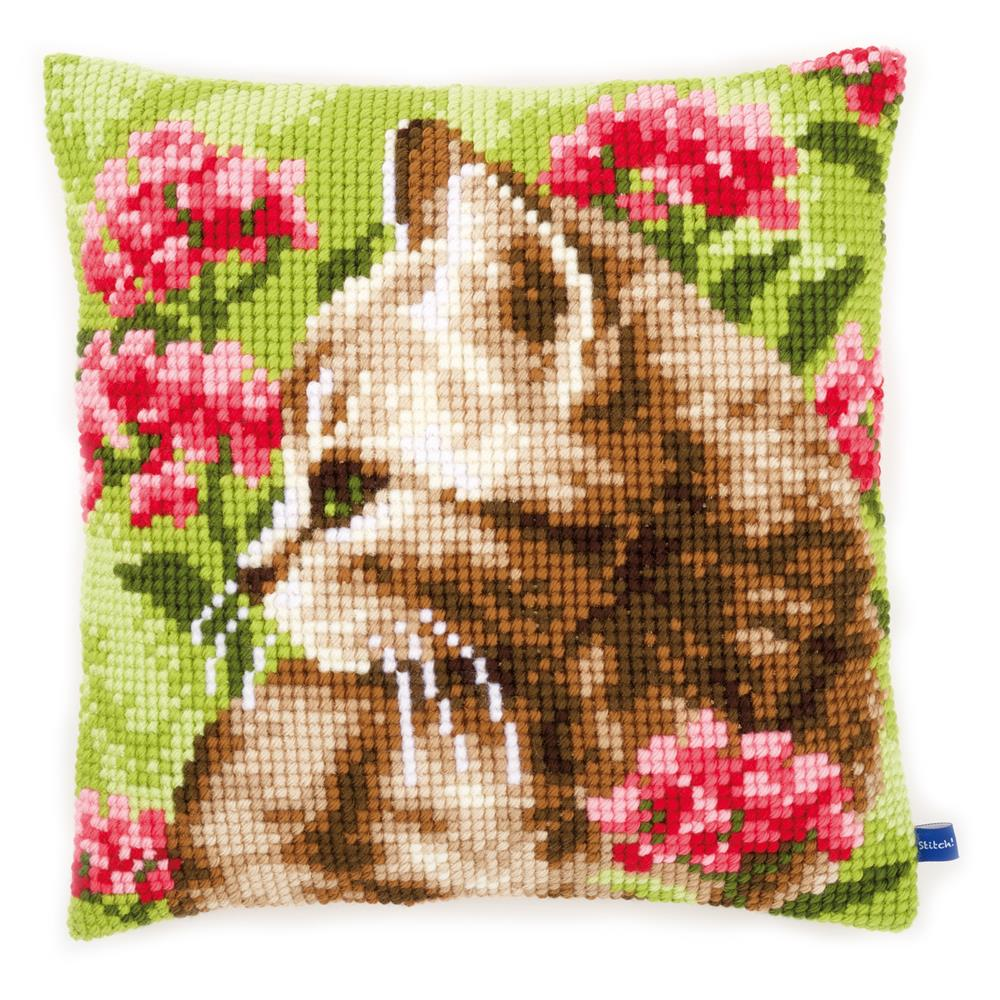 Vervaco Cat in Field of Flowers Cushion Cross Stitch Kit
