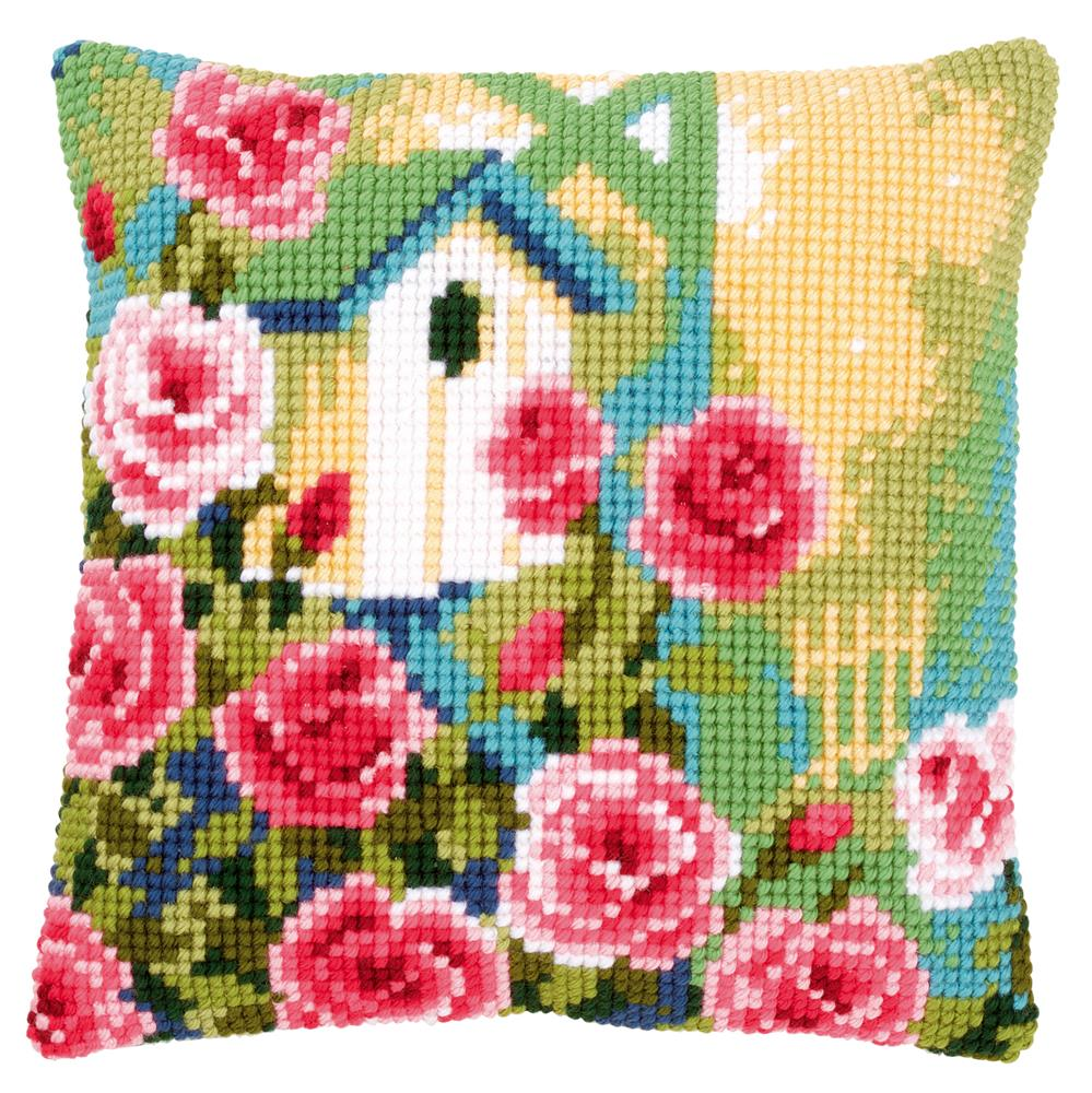 Vervaco Birdhouse and Roses Cushion Cross Stitch Kit